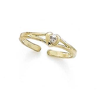 14k Yellow Gold Diamond Heart Toe Ring Jewelry Gifts for Women