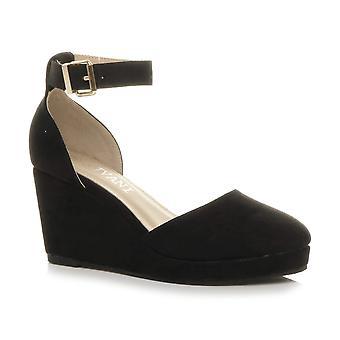 Ajvani naisten puoli välissä kiila kantapää alustan solki ylös nilkka hihna espadrille sandaalit
