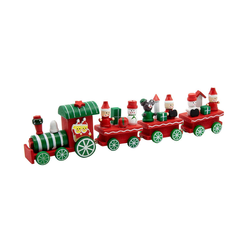 TRIXES Wooden Christmas Train Ornament Decoration