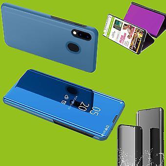 Für Xiaomi Redmi Bemærk 8 Pro Clear View Spiegel spejl Smartcover Blau Schutzhülle dække etui Tasche Hülle Neu sag Wake UP funktion