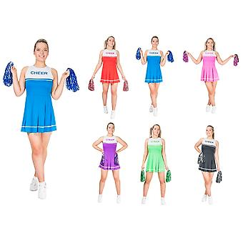 Cheerleader costume with PomPoms ladies dance troupe many colors XS-L cheerleader dress