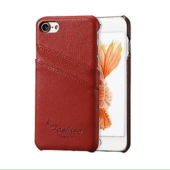 Voor iPhone SE (2020), 8 & 7 Case, Fashion Stylish Handmade Genuine Lychee Leather Cover, Red