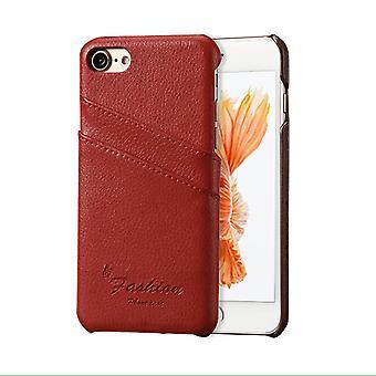 Für iPhone SE (2020), 8 & 7 Fall, Mode stilvolle handgemachte echte Lychee Lederbezug, rot