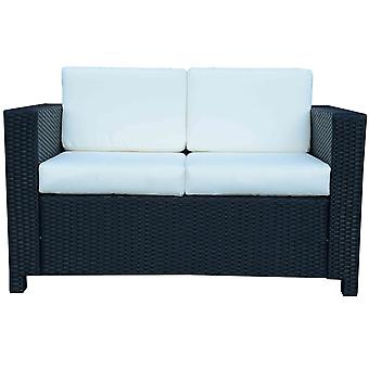 Outsunny Wicker Garden 2-Seater Double Couch Loveseat Black