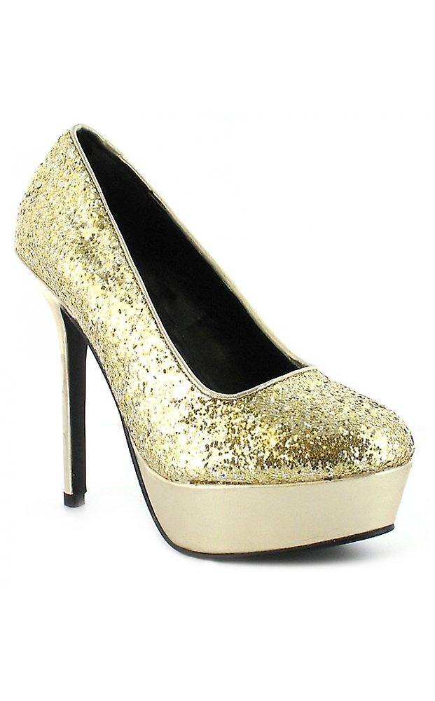 Platino Glitter Court Platform Shoes In Gold