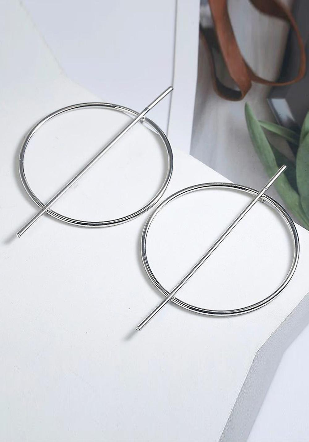 Silver Circle Stick Earrings with Earring Box
