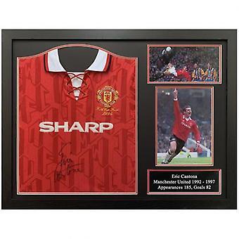 Manchester United Cantona underskrevet skjorte (indrammet)