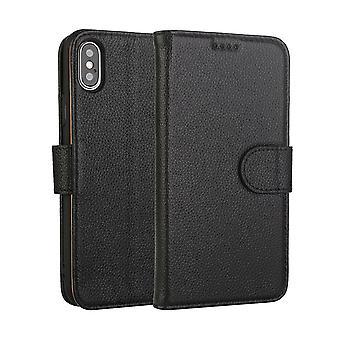 Mode schwarz Rindsleder echtes Leder Brieftasche für iPhone XS MAX Fall