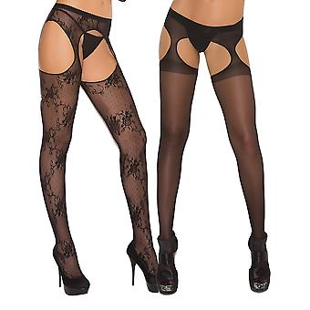 Womens Sexy Sheer och blommig spets Crochless suspender strumpbyxor tights-2 Pack