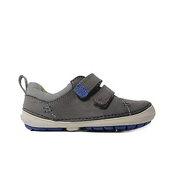 Clarks Softly Toby Grey Leather Boys Rip Tape Chaussures