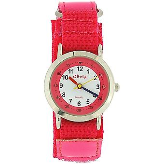 The Olivia Collection White Dial & Hot Pink Easy Fasten Strap Girls Watch