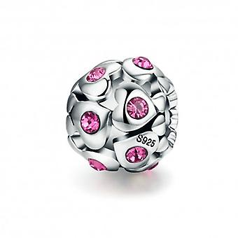 Sterling Silver Charm Heart With Pink Crystal - 5447