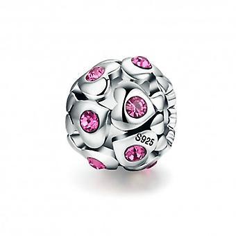 Sterling Silver Charm Hjärta med rosa kristall - 5447
