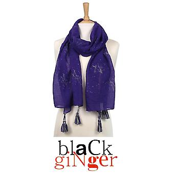'Black Ginger' Purple Scarf with Silver Star Pentangle Design (734