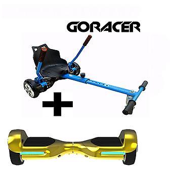 G PRO Gold Chrome Segway med en Racer Hoverkart i blått