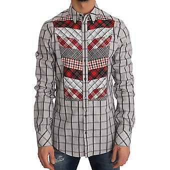 דולצ ' ה & גבאנה Multicolor לבדוק כותנה רזה התאמה חולצה--TSH1882352