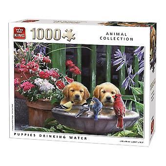 King Jigsaw Puzzel - Puppies drinkwater, 1000 Stuk