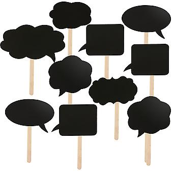 TRIXES 10 Assorted DIY Card Speech Bubble Blackboards