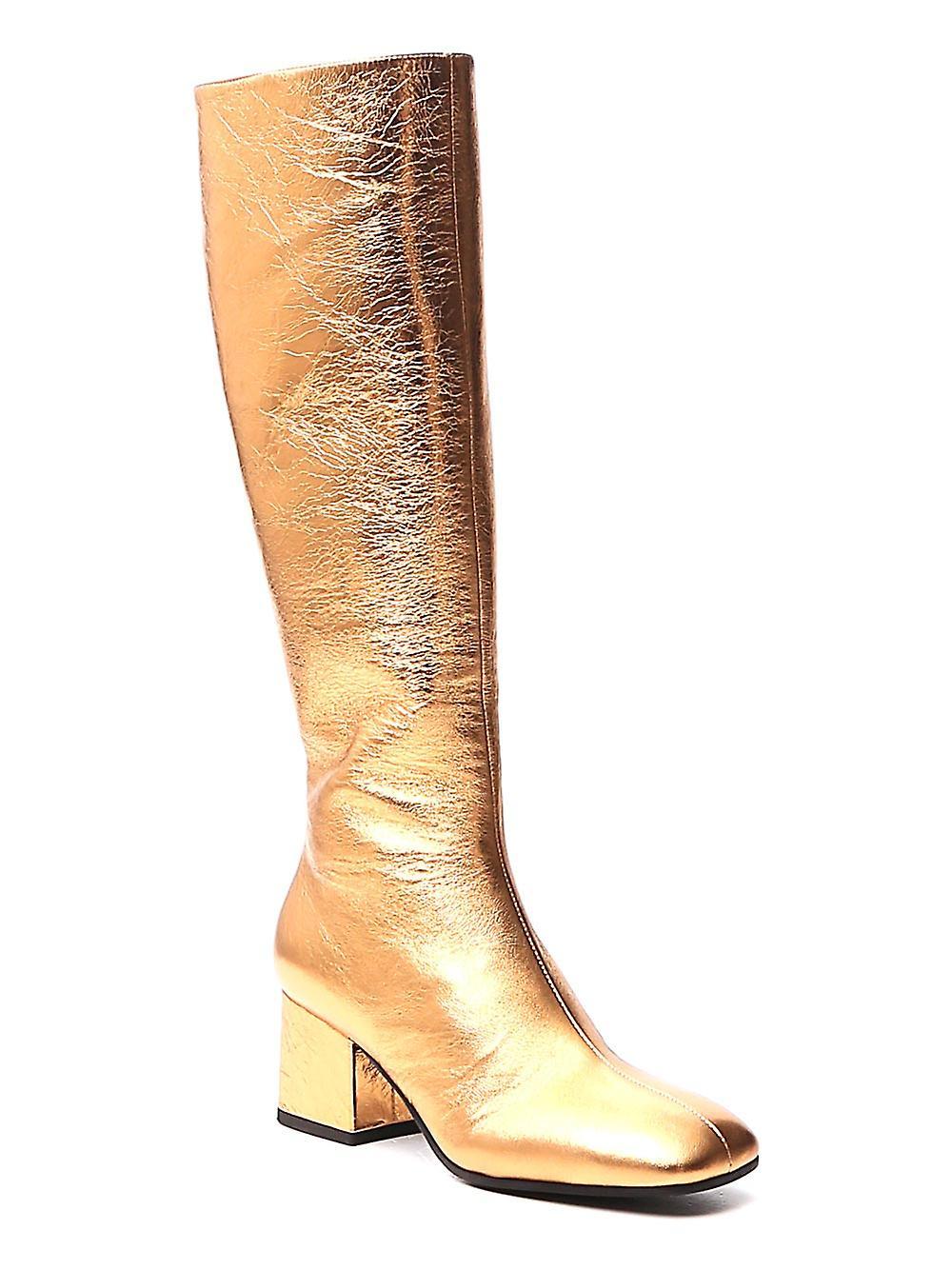 Marni Stms004306p358700y65 Kvinder's Guld Læder Støvler