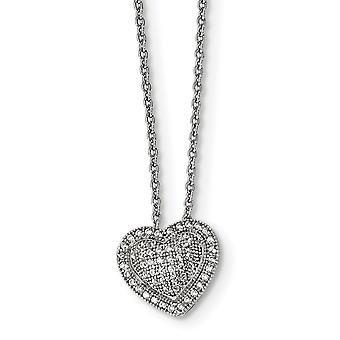 925 Sterling Silber Hummer Kralle Verschluss und CZ Zirkonia simuliert Diamant brillante Embers Liebe Herz Halskette 18