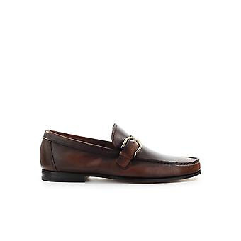 SANTONI BROWN LOAFER WITH BUCKLE