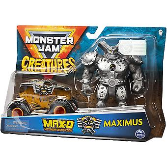 Monster Jam Max-D 1:64 Scale Monster Truck and Maximus Creatures Action Figure Set
