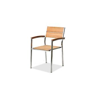 Roestvrijstalen stoel teak A, 2 stuks