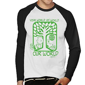 Peanuts Snoopy Your World My World Our World Men's Baseball Long Sleeved T-Shirt