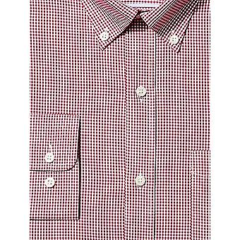 "BUTTONED DOWN Men's Classic Fit Button-Collar Non-Iron Dress Shirt, Burgundy Gingham, 16"" Neck 32"" Sleeve"
