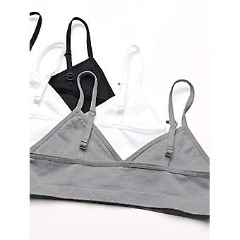 Essentials Girls' 3-Pack Seamless Training Bra, Grey Heather/White/Black