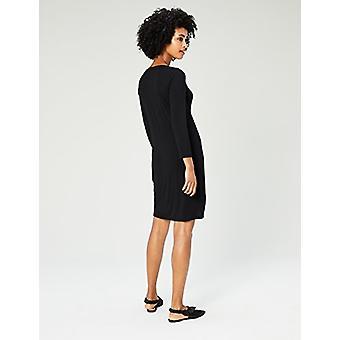 Brand - Daily Ritual Women's Jersey 3/4-Sleeve V-Neck T-Shirt Dress, B...