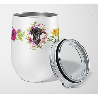 Black Labrador Pink Flowers Stainless Steel 12 oz Stemless Wine Glass