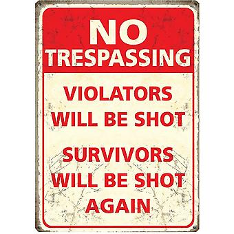 No Trespassing Metal Wall Sign