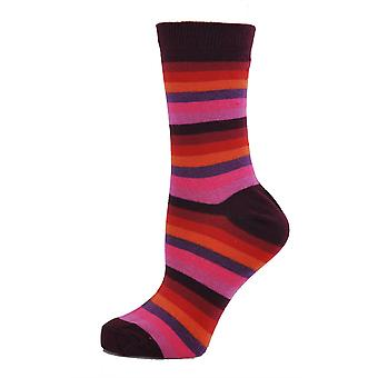 Womenăs Pink Stripe Casual Cotton Girls Over Ankle Socks 4-6 Uk