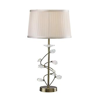 Ispirato Diyas - Salice - Lampada da tavolo con White Shade 1 Light Antique Brass, Cristallo