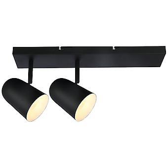 BRILLIANT lamp Ayr spotlight bar 2flg zwart mat | 2x D45, E14, 18 W, geschikt voor niet inbegrepen droplampen | Hoofden