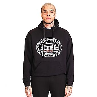 Distress Globetrotter Pullover Hoodie Black