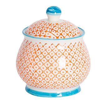 Nicola Spring Hand-Printed Sugar Bowl with Lid - Japanese Style Porcelain Kitchen Storage Pot - Orange - 10.5 x 12.5cm