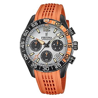 Festina F20518-1 Männer's Chronograph grau Zifferblatt Orange Gummiband Armband Armbanduhr