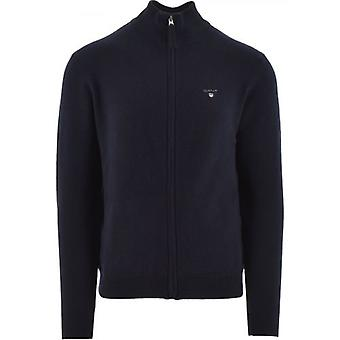 GANT Super Fine Lambswool Full-Zip Navy Tröja