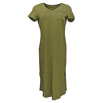 C. Wonder Petite Dress Essentials Slub Knit Midi Length Green A289779