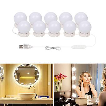 10 Bulbs Makeup Mirror Vanity Led Light Bulbs Kit Usb Charging Port Cosmetic