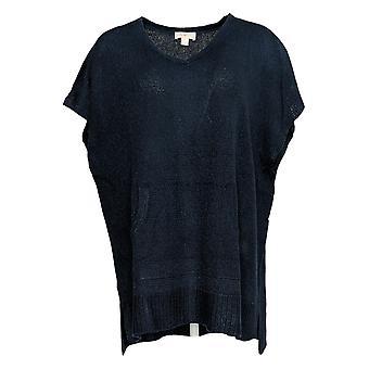 Belle Af Kim Grus Kvinder's Sweater V-Neck Shimmer Blå A383479