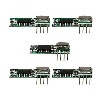 DC3-5,5 V RXB12 Draadloze high frequency receiver board module 433 MHz Set van 5