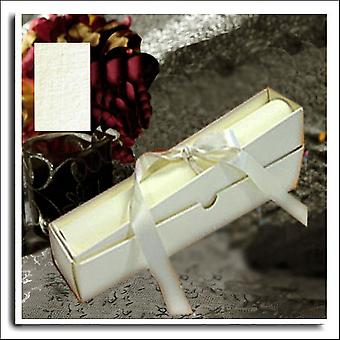 5 Ivory Linen Wedding Scroll Box Invitations With A4 Paper