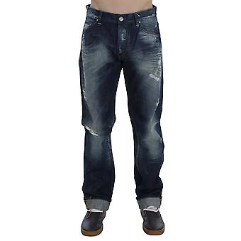 Acht Blue Wash Cotton Denim Regular Fit Pogniecione dżinsy