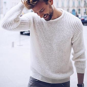 Autumn And Winter Men's Pullover Casual Jumper Solid Color Knitted Top