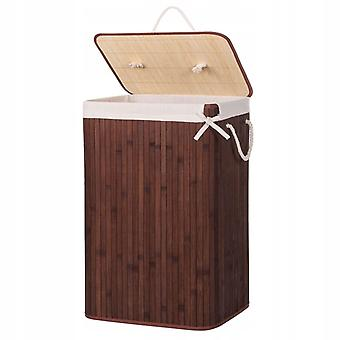 Laundry basket with lid 72L Brown