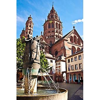 Saint Martins Cathedral Mainz Germany Poster Print by Miva Stock