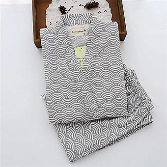 Japanese Traditional Kimono Pajamas Wave Print V-neck Loose Style Sleepwear
